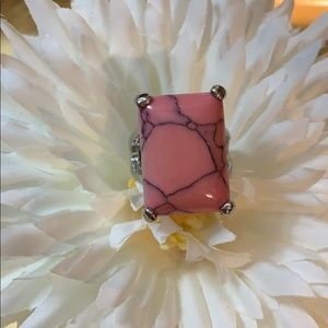 Jewelry - Large Silver Statement Ring with Pink Stone